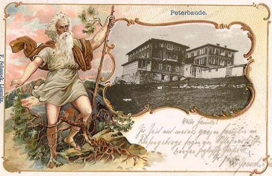 Zaniklá Petrova bouda na pohlednici ve sbírce Jaroslava Drtiny.