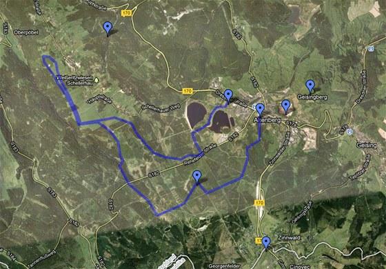 MAPA: Saský Altenberg na hřebeni Krušných hor