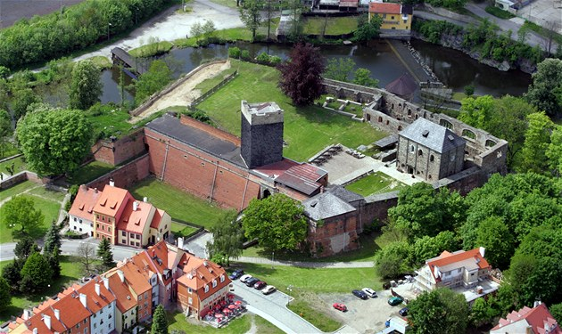 Aerial view of Cheb castle.