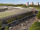 Vizualizace budoucího fotbalového stadionu v Hradci Králové spojeného s