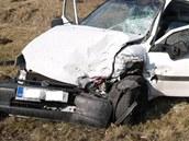 Takhle po čelním nárazu dopadl protijedoucí vůz Opel Combo.