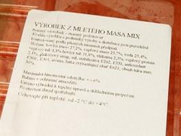 Mix vepřového a hovězího obsahuje jen něco přes 50 % masa.