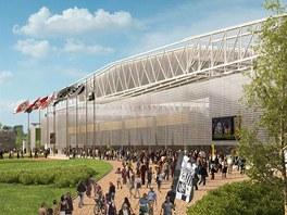 Severní tribuna budoucího hradeckého fotbalového stadionu