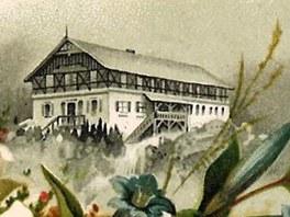 Labská bouda a vodopád ze sbírky pohlednic Jaroslava Drtiny.