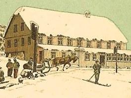 Pohlednice se Špindlerovou boudou ze sbírky Jaroslava Drtiny.