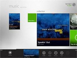 Aplikace pro přehrávání hudby ve Windows 8 využívá jednouché ovládání, ke