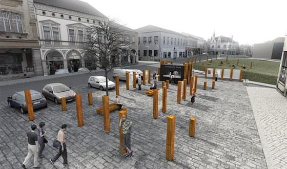 Jeden z návrhů, který počítá s rozmístěním různě vysokých dřevěných kůlů na