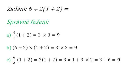 Správné řešení příkladu 6 ÷ 2(1 + 2) =
