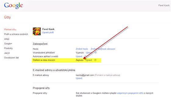 """Dvojité zabezpečení lze zapnout v nastavení Google účtu v záložce """"Přehled účtu"""""""