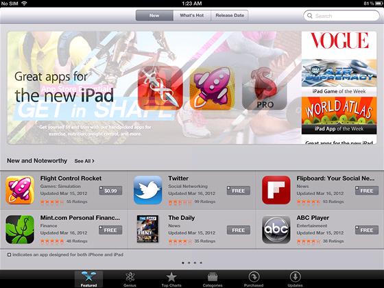 AppStore samoz�ejm� podporuje vysok� rozli�en� a dokonce i sekci aplikac�,
