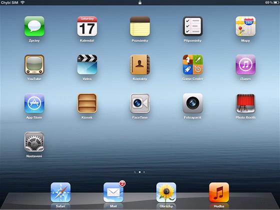 Domovsk� obrazovka nov�ho iPadu s do detailu propracovan�mi ikonkami