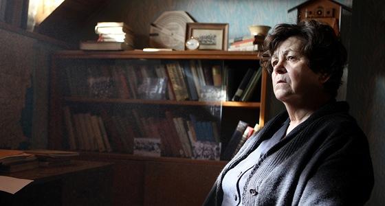 Jaroslava Pokorná jako Libuše Palachová při natáčení série Hořící keř.