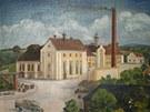 Historická malba zachycující dobrušský pivovar v podobě z třicátých let.