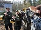 Dechový kvartet hornistů z lesnické školy ve Žluticích při  zahájení přeměny