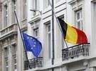 Cel� Belgie st�hla vlajky na p�l �erdi (16. b�ezna 2012)