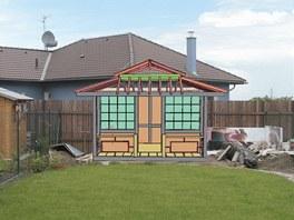 Plánek domku vsazený do reálného prostředí