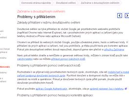 Nápověda k dvoustupňovému ověřování je i v češtině