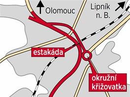 Mapa budoucí podoby nynější dopravní noční můry Přerova, železničního podjezdu