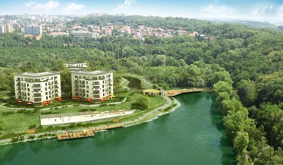 Vizualizace celkového pohled na Hořejší rybník a projekt Kejřův park.