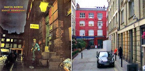 Londýnská Heddon Street na obalu desky Davida Bowieho a ve skutečnosti
