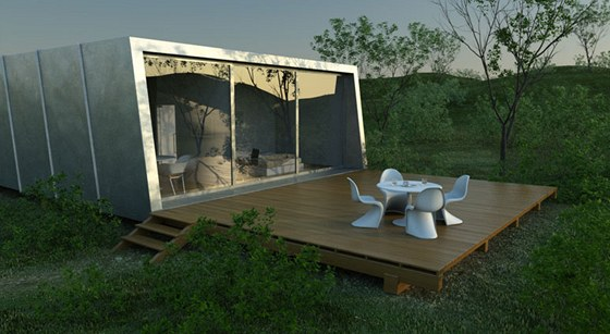 Na plech dům - vznikl na objednávku soukromého klienta, Jednoduchá dřevěná