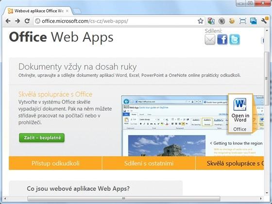 Internetové verze kancelářských aplikací obsahují všechny důležité funkce a