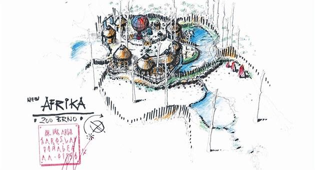 Návrh nové expozice v brněnské zoo ve stylu africké vesnice