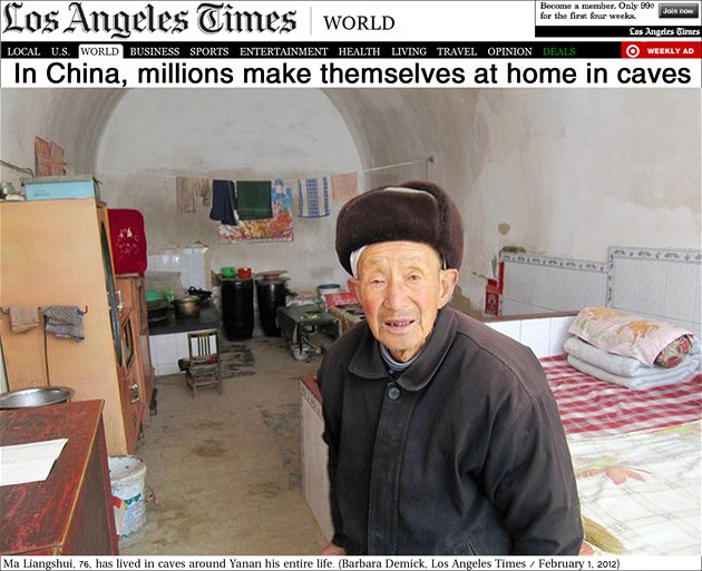 V jeskynním byt� o jedné místnosti �ije i �estasedmdesátiletý Ma Liang-�uej.