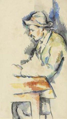 Akvarelová studie k Hráčům karet od Paula Cézanna