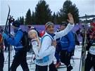 David Vávra na běžeckém maratonu Birkebeiner s povinnou zátěží na zádech