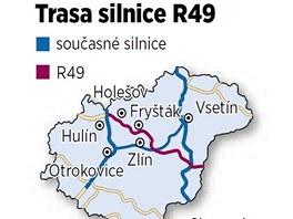 Trasa plánované silnice R49 přes Zlínský kraj