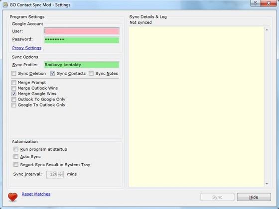 Synchronizace kontaktů mezi Outlookem a serverem Googlu se hodí při zálohování