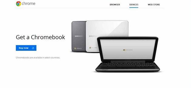 Google nyní nabízí na svých stránkách Chromebook.