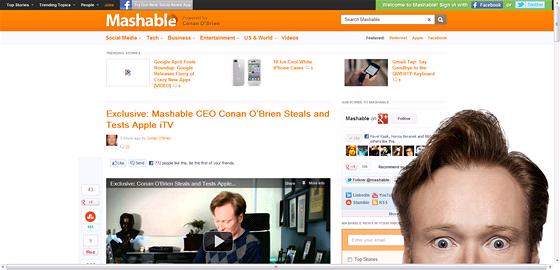 Conan O'Brien ��fredaktorem Mashable? Na apr�la je mo�n� v�echno