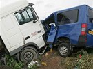 Vůz Ladislava Lubiny způsobil hromadnou nehodu u Trotiny na Královéhradecku.