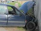 První nehoda na silnici 1/11 u Lhoty pod Libčany.