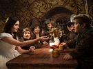 Lily Collinsová, Mark Povinelli, Jordan Prentice, Sebastian Saraceno a Joe Gnoffo ve filmu Sněhurka