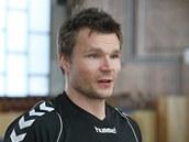 Karel Nocar na tréninku házenkářské reprezentace.