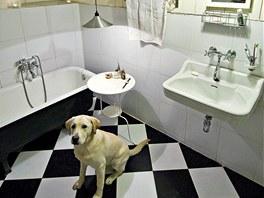 Litinovou vanu do velké koupelny si majitel přivezl ze starého bytu.