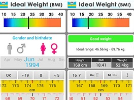 Prost�ed� mobiln� aplikace Ideal Weight (BMI) pro Android.