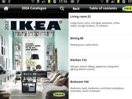 Prostředí mobilní aplikace Katalog IKEA pro Android.
