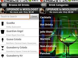 Prostředí mobilní aplikace Mixology pro Android.