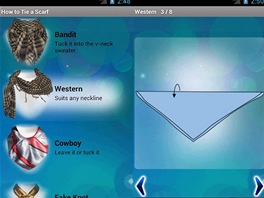 Prost�ed� mobiln� aplikace How to Tie a Scarf pro Android.