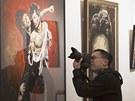 Výtvarná díla Ronnieho Wooda na výstavě v New Yorku vzbudila zájem médií.