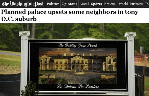 Sídlo nazvané Le Château de Lumiere (Sv�telný zámek) o podlahové plo�e zhruba 2 362 metr� �tvere�ních bude jedním z nejv�t�ích v oblasti.