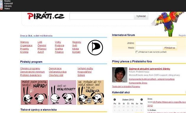 """Pirátská strana si """"vyp�j�ila"""" stránky Seznamu."""