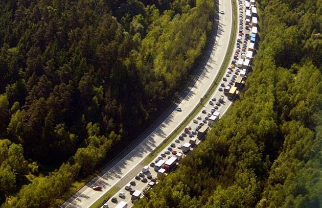Dopravní kolaps na dálnici D1