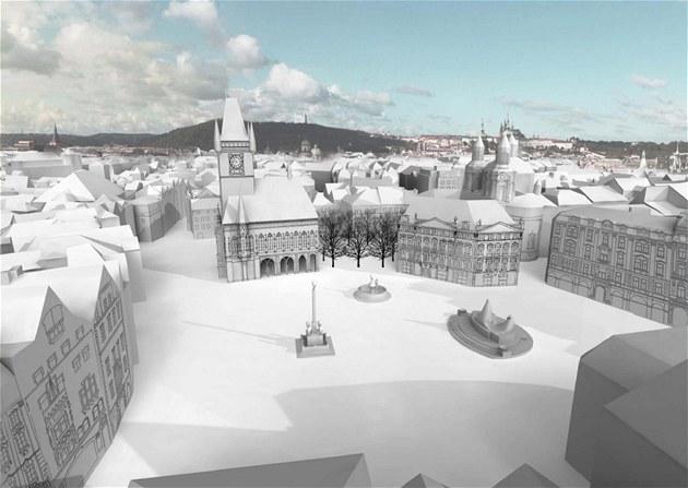 Pohled z ochozu Týnského chrámu na dopln�né východní k�ídlo radnice a Kren�v