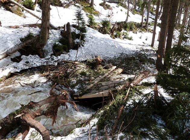 Mostek v Labské roklin� nevydr�el nápor lavin a vody z tajícího sn�hu.