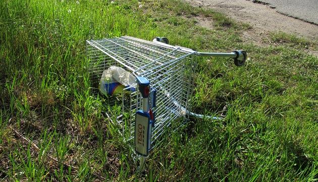 Opu�t�ný nákupní vozík supermarketu Tesco